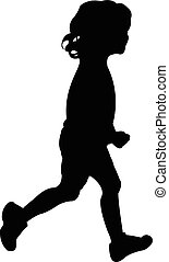 silhouette of a girl while running
