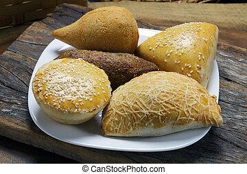 Savory traditional in Brazil, pie, kebab, drumstick, pastel.