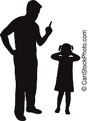 angry father scolding his daughter pointing finger,...