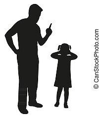 enojado, padre, regaño, el suyo, daughter, ,