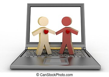 Couple with heart on laptop - Couple with heart on their...