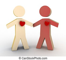 Boy and girl with heart - 3d illustration of boy and girl...