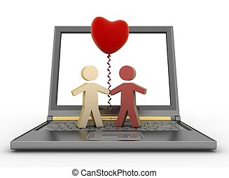 Couple with balloon on laptop - Couple with a balloon in the...