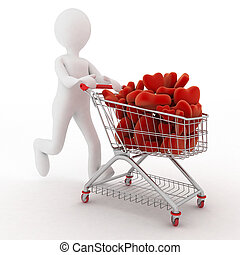 Person pushing trolley with heart - 3d person with red...