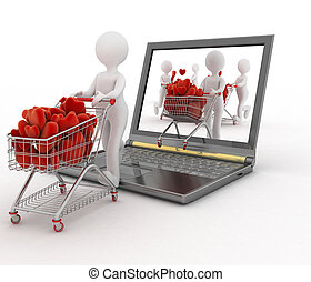 Persons pushing trolley with hearts - 3d persons pushing a...