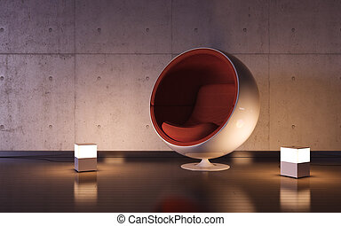 Cosy armchair with two lamps in interior
