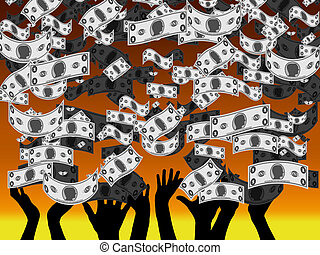 Money Rain - An illustration of Money Rain showing People's...