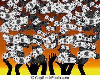Money Rain - An illustration of Money Rain showing People's...