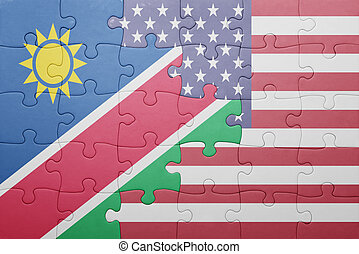 puzzle with the national flag of united states of america...