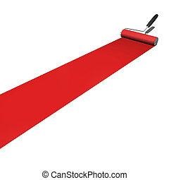 Red Paint Roller - Red paint being rolled on a white...