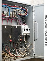 eléctrico, panel, vario, alambres, Pawls,...
