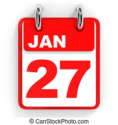 Calendar on white background. 27 January. 3D illustration.