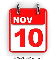 Calendar on white background. 10 November. 3D illustration.
