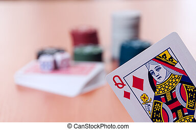 Poker chips and generic playing cards Courts for poker chips...