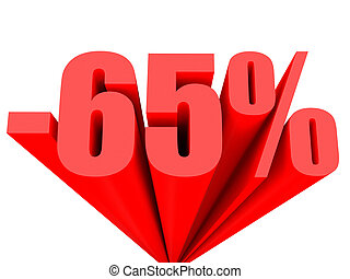Discount 65 percent off sale 3D illustration