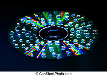 Music CD water drop - colorful water drops on CD DVD disc