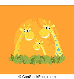 Cute giraffe family portrait - Vector Illustration of...