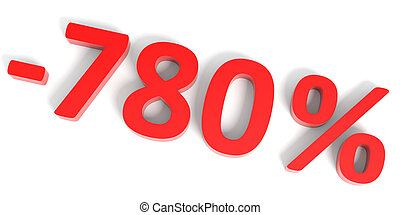 Discount 780 percent off sale. 3D illustration.