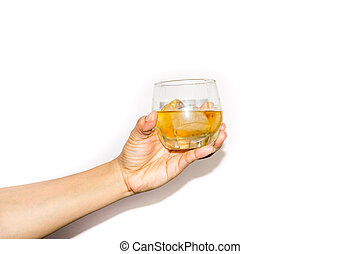 Woman's hand holding a glass of wine.