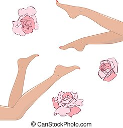 womans legs - set of design elements with roses and womans...
