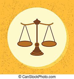 vector round icon woody scale symbol of legal, court,...