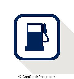 square dark blue icon fuel pump station with long shadow -...