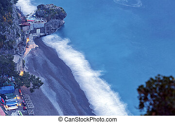 Aerial view of beach in Positano Campania, Italy