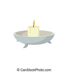 Candle with candlestick cartoon icon