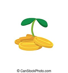 Plant and coins cartoon icon