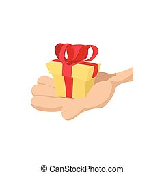 Hand with gift cartoon icon. Concept of getting bonus,...