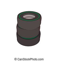 Car tires cartoon icon. Stacked black tires on a white...