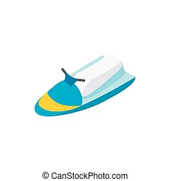 Jet ski 3d isometric icon isolated on a white background