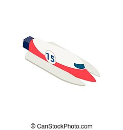 Speed boat isometric 3d icon isolated on a white background