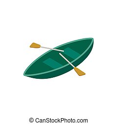 Boat with paddles isometric 3d icon on a white background