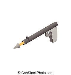 Underwater fishing speargun isometric 3d icon on a white...