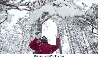 Attractive woman shaking snowy branches