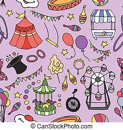 Doodle patern circus - Clowns, Balloons, Penny-farthing and...