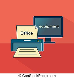 Office equipment logo, business items, working elements,...