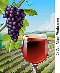 Red Wine - Glass of red wine and some grapes over a rural...