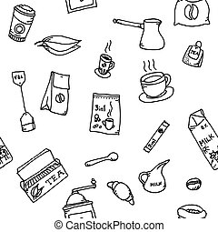 Seamless pattern set of coffee and tea hand drawn. Set of...