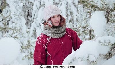 Winter walk through a forest