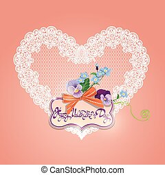 Vintage card, calligraphic text Happy Valentines Day. Bouquet of beautiful pansy and forget me not flowers, lace heart, bow and frame on pink background.
