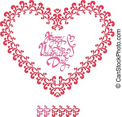 Red ornamental floral heart with calligraphic text Happy Valentine`s Day, isolated on white background. Holiday card.