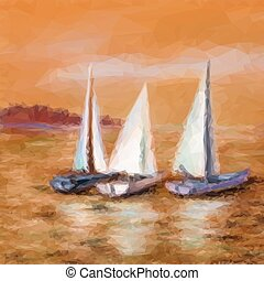 Ship floats in the sea - Landscape, Sailboats Yachts...