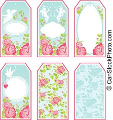 Set of holiday banners and labels in pink and blue colors...