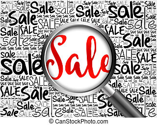 SALE word cloud with magnifying glass, business concept
