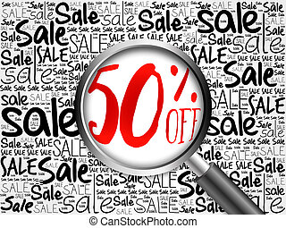 50 percent Sale word cloud with magnifying glass, business...