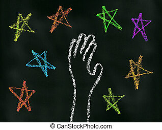 Reach for the Stars - Hand reaching for the stars...