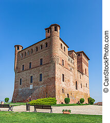Castle of Grinzane cavour in Italy. - Medieval castle under...