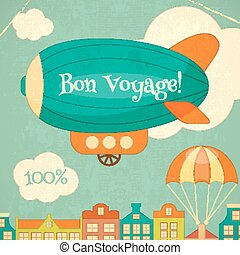 Best Vacation - Travel Poster with Airship Cartoon Style...